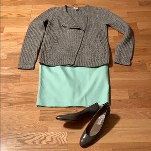 J CREW The Pencil skirt Mint Cotton